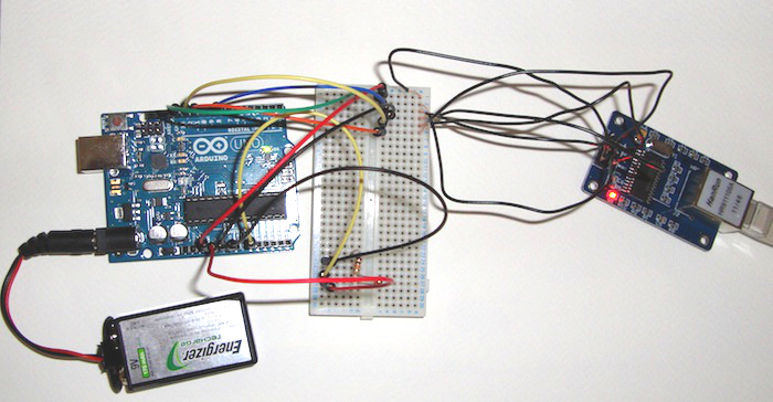 Arduino setup with Ethernet addapter and thermistor